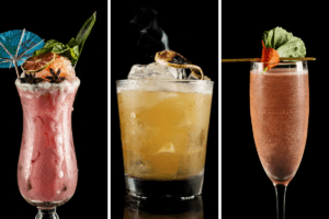 Photo grid with one cocktail in each of three panels on black background