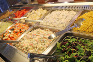 Close-up view of buffet spread