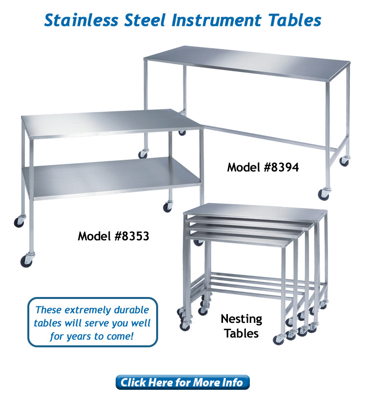 Lakeside Healthcare stainless steel instrument tables, models 8394, 8353 and 8380.